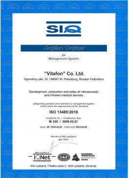 Vitafon- ISO 9001, ISO 13485-3